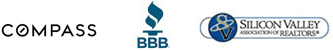 Three logo buttons: Sereno Group, BBB, Silicon Valley Association of Realtors