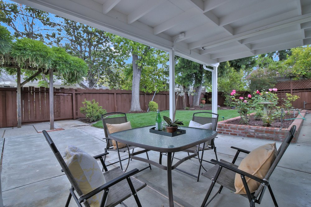Backyard after cleanup: note pleasant dining area