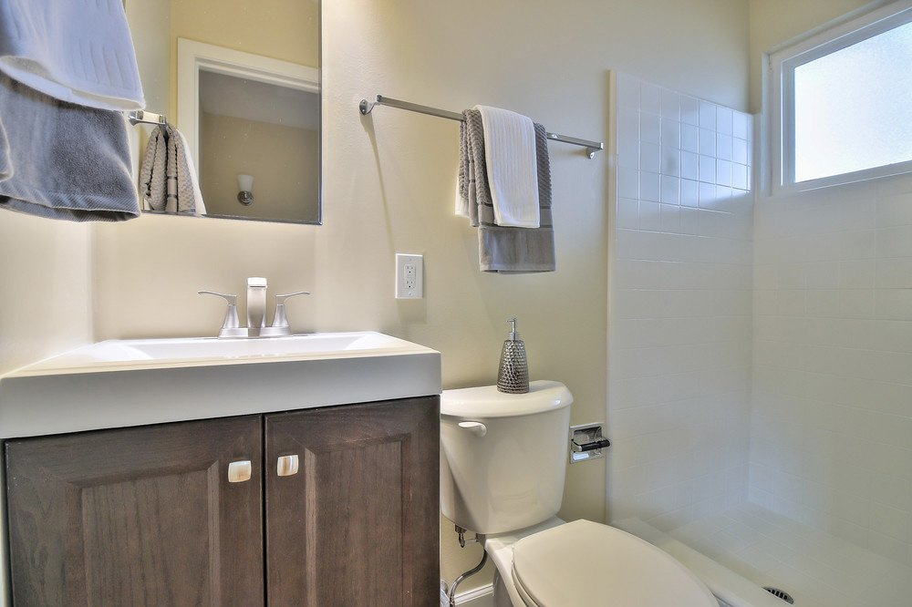 Bathroom after remodel: note clean look
