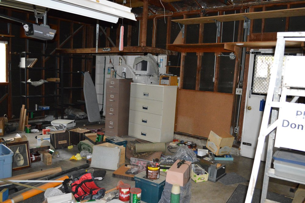 Garage before cleanup: note clutter