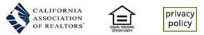 Three logo buttons: California Association of Realtors, Equal Employment Opportunity, Privacy Policy